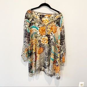 Johnny Was Silk Floral  Popover Tunic